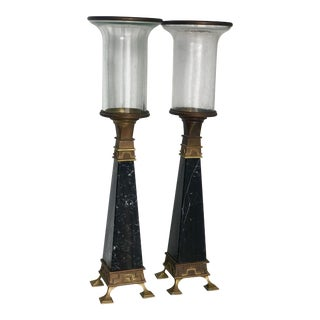 Chapman Greek Key Brass and Black Marble Candlesticks - a Pair For Sale