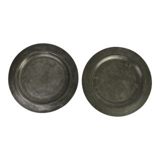 Early 19th Century English Pewter Chargers - a Pair For Sale