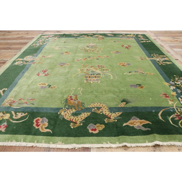 Textile Green Antique Chinese Art Deco Rug - 7′8″ × 8′9″ For Sale - Image 7 of 9