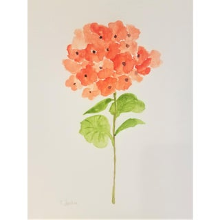 "Christine Frisbee ""Orange Gardenia 1"" Contemporary Original Botanical Watercolor Painting For Sale"