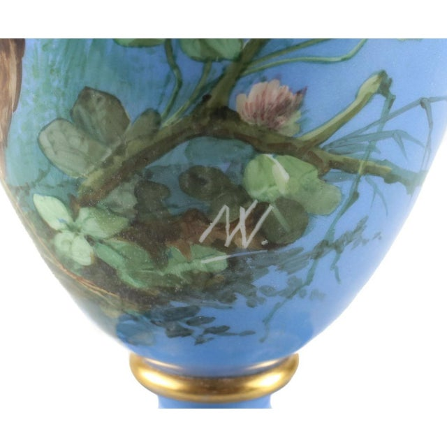 French Opaline Glass Vase Hand Painted Blue With Sparrows, Circa 1900 - Image 4 of 5