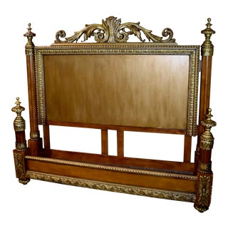 1990s King Size Italian Renaissance Style Headboard and Footboard - 2 Pieces For Sale