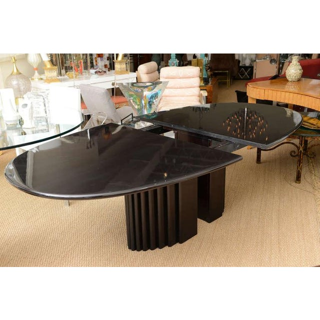 Kollection Röthlisberger Schweiz Signed Rothlisberger Ebonized Oval Sculptural And Fluted Dining Table For Sale - Image 4 of 11