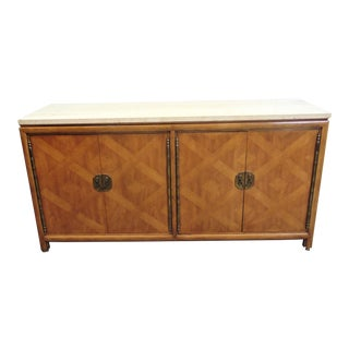 Modernage Mid Century Italian Style Travertine Top Sideboard For Sale