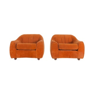 Mid-Century Modern Orange Suede Italian Easy Chairs For Sale