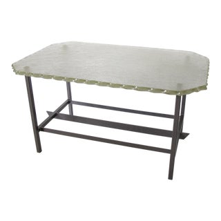 Fontana Arte Style 1960s Italian Glass Slab and Metal Coffee or Cocktail Table For Sale