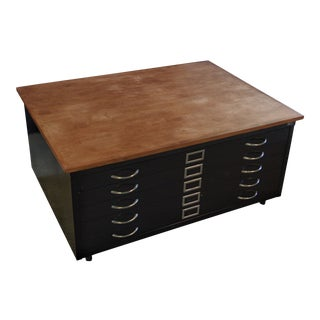 1980s Rustic Reclaimed Flat File Coffee Table For Sale