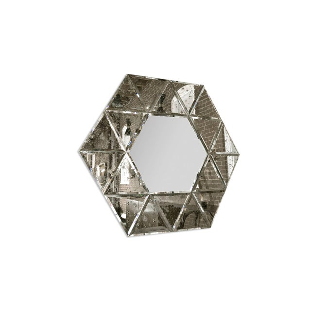 Art Deco Large Hexagonal Antiqued Mirror For Sale - Image 3 of 8