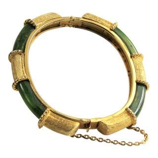 Vintage Spinach Green Bakelite & Gold Metal Hinged Bangle Bracelet For Sale