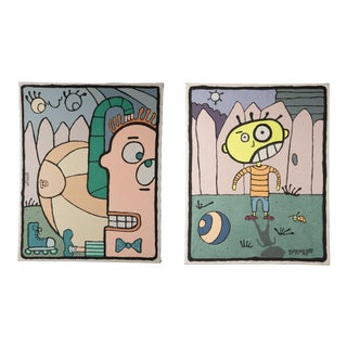Borsellino Outsider Art Paintings - a Pair For Sale