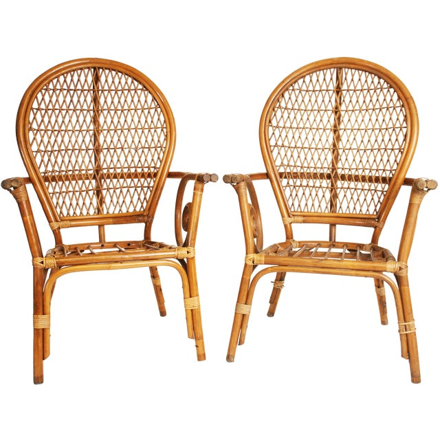 Vintage Bamboo Bentwood Chairs - A Pair For Sale