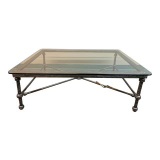 Sunrise Home Forged Iron + Glass Coffee Table With Snake For Sale