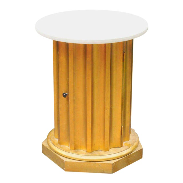 Marble Column Side Table For Sale