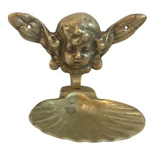 Vintage Solid Brass Cherub Soap Dish For Sale