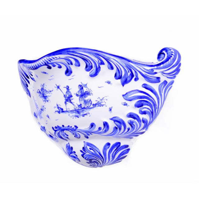 Italian Hand Painted Blue Wall Planter - Image 1 of 9