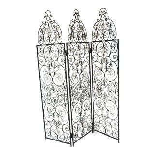 Mid-Century Mexican Monterey Style Wrought Iron Folding Screen