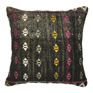 "Colorful Contrast Vintage Kilim Pillow | 18"" For Sale"