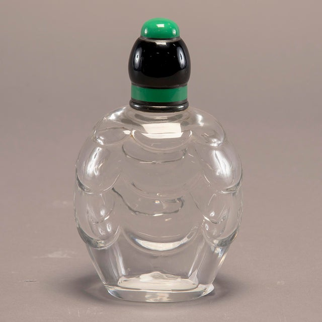 Green Baccarat Art Decoand Sterling Perfume Bottle With Green Top For Sale - Image 8 of 13