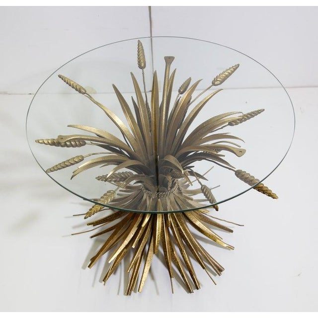 Vintage French Metal Sheaf of Wheat Side Table with Glass Top For Sale - Image 10 of 10