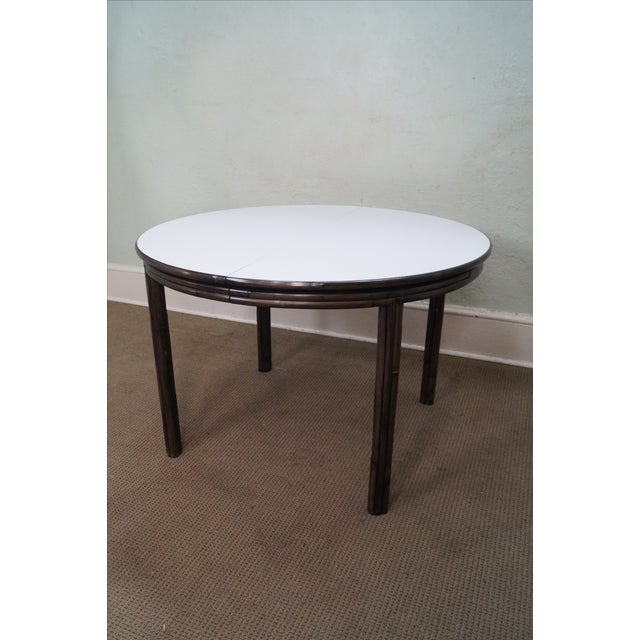 Boho Chic McGuire Vintage Bamboo Rattan Dining Table For Sale - Image 3 of 10