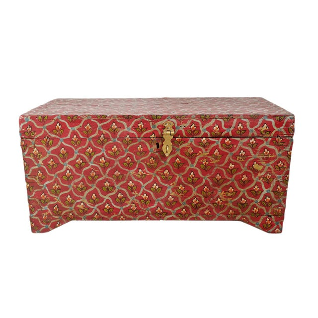 Red Painted Flower Wood Box For Sale - Image 8 of 8