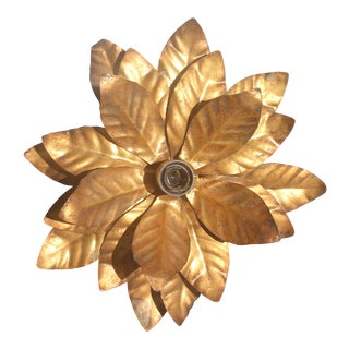 Mid-Century Modern Large Gilt Tole Floral Ceiling Flush Mount Fixture by Willy Daro For Sale
