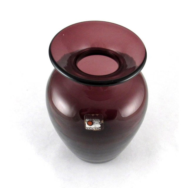 Blenko 1980s Blenko Hand Blown Amethyst Glass Vase For Sale - Image 4 of 10