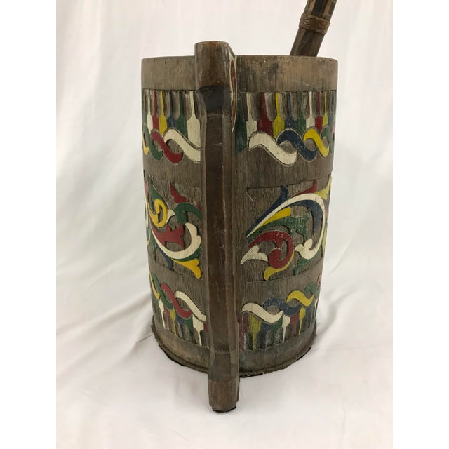 Mid 20th Century Polychrome Painted Carved Wooden Water Bucket With Ladle For Sale - Image 5 of 7