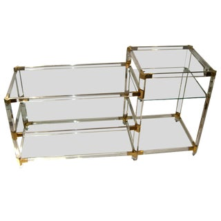 French 1970s Lucite Console With Glass Shelves For Sale