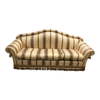 Italian Yellow Background Red and Green Striped Upholstered Three Piece Set of Sofa, Love Seat and Chair
