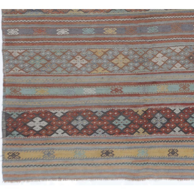"Vintage Turkish Handwoven Kilim Rug - 6'2"" X 11'2"" For Sale - Image 4 of 4"