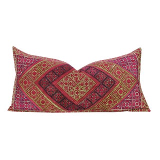 Embroidered Diamond Antique Swati Pillow For Sale