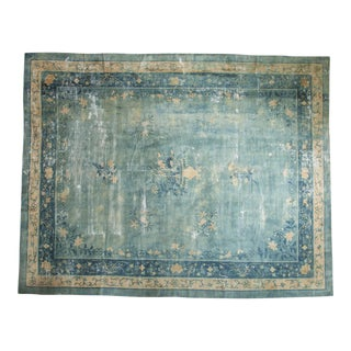 "Antique Distressed Peking Carpet - 9'9"" X 12'5"" For Sale"