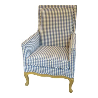 Vintage French Provincial Mustard Painted Upholstered Bergere For Sale