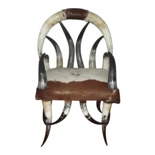 20th Century Safari Steer Horn Chair For Sale