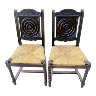 A Pair Antique Heavy Carved Dart Back Wood Santa Fe Rush Seats Dining Room Chairs For Sale