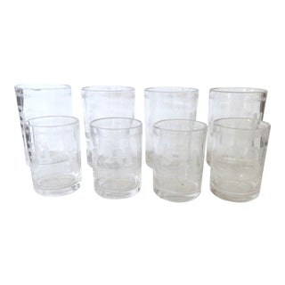 Set of 8 Etched Glasses For Sale