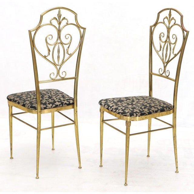 Set of 4 Italian Mid-Century Modern Chiavari Brass Chairs For Sale - Image 11 of 12