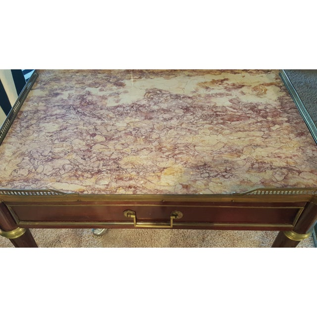 Brass Louis XVI Style Marble Top Side Table For Sale - Image 7 of 12