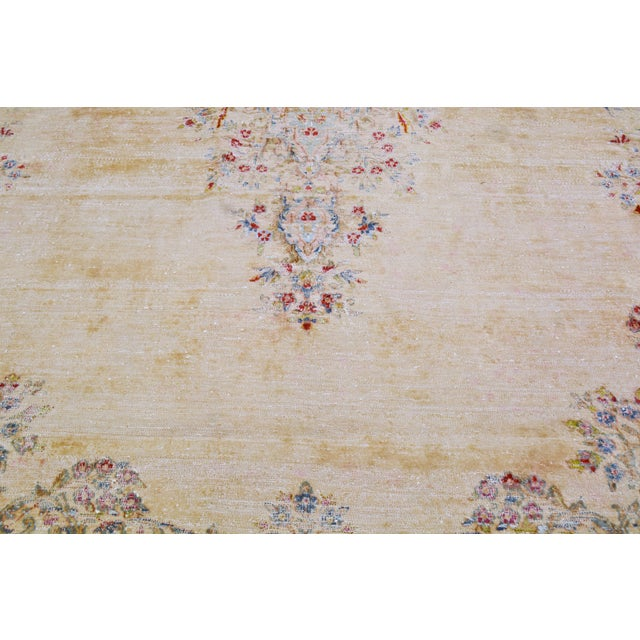 """Vintage Persian Kerman Hand Knotted Organic Wool Fine Weave Rug,7'8""""x14'1"""" For Sale - Image 4 of 8"""