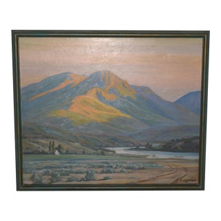 Grodon Cope (1906-1999) Western Mountain Landscape Oil Painting C. 1940s For Sale