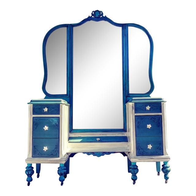 Antique French Blue Vanity Mirror