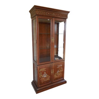 Jasper Cabinet Chinoiserie Hand Paint Decorated 4 Door Lighted Curio Cabinet For Sale
