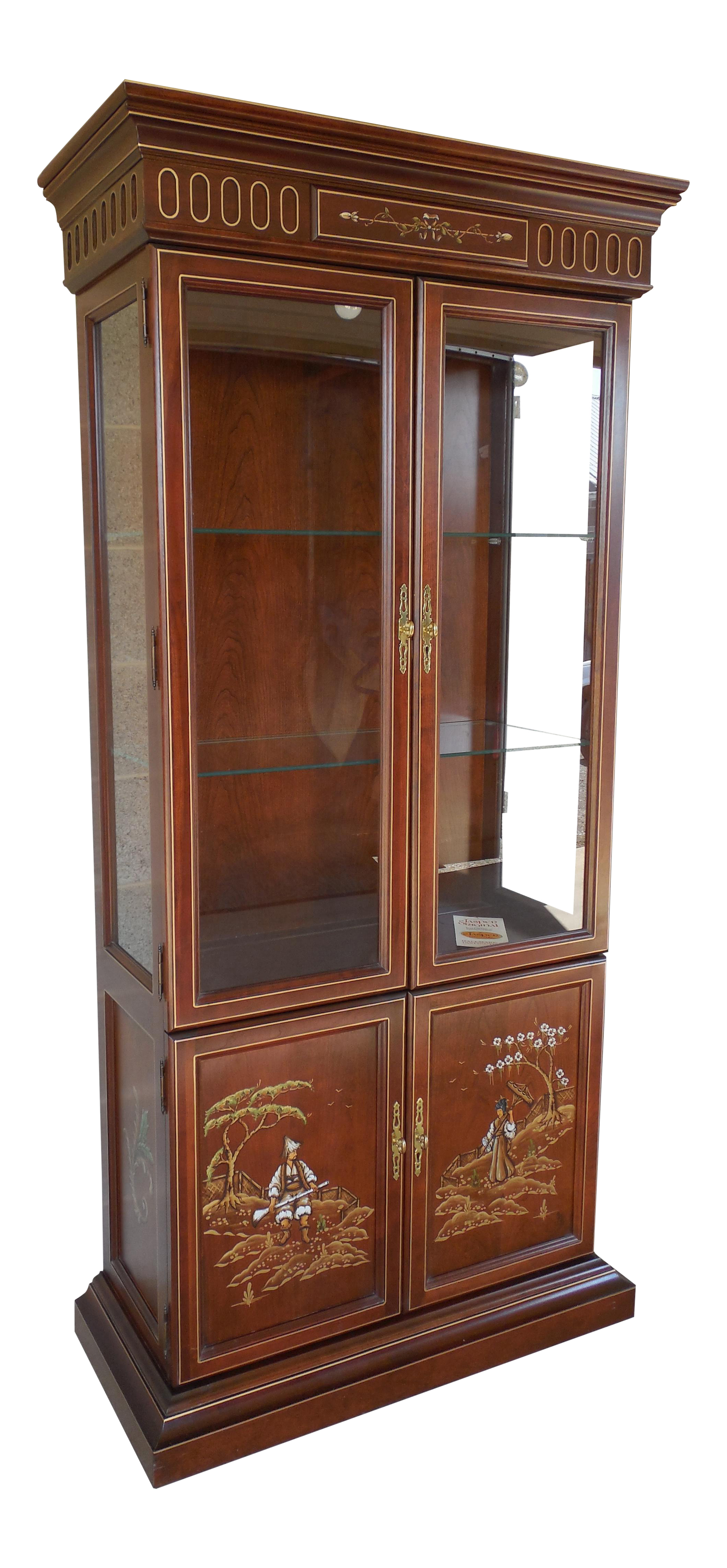 Exceptionnel Jasper Cabinet Chinoiserie Hand Paint Decorated 4 Door Lighted Curio Cabinet