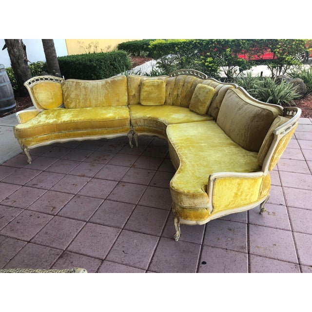 Yellow Hollywood Regency Yellow Velvet Italian Sectional For Sale - Image 8 of 8