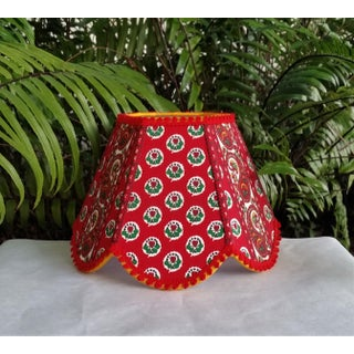 Red Paisley Clip on French Pierre Deux Style Foulard Stripe Lampshade Preview