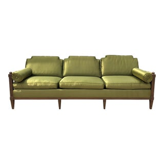 1960s Hollywood Regency Style Satin Green Sofa For Sale