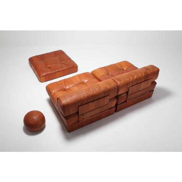 Cognac Leather Patchwork Ds 88 De Sede Sectional Sofa For Sale - Image 6 of 11