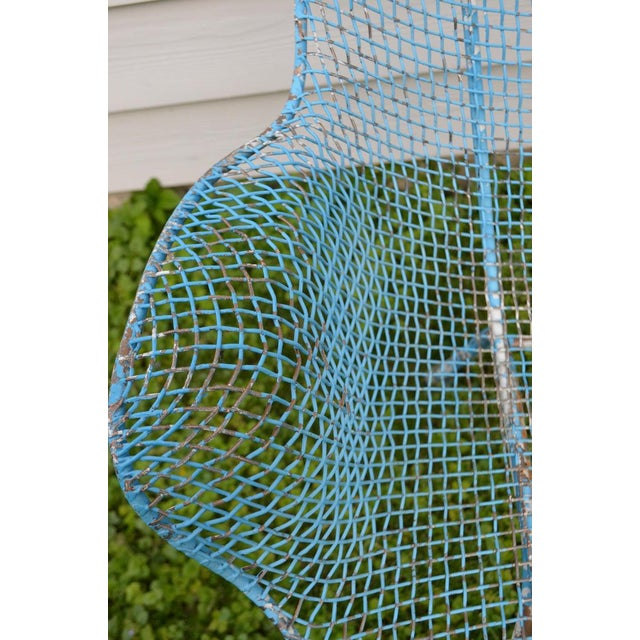 Metal Russell Woodard Sculptura Wire Patio Chairs, Set of 4, in As-Found Sea Sky Blue For Sale - Image 7 of 13