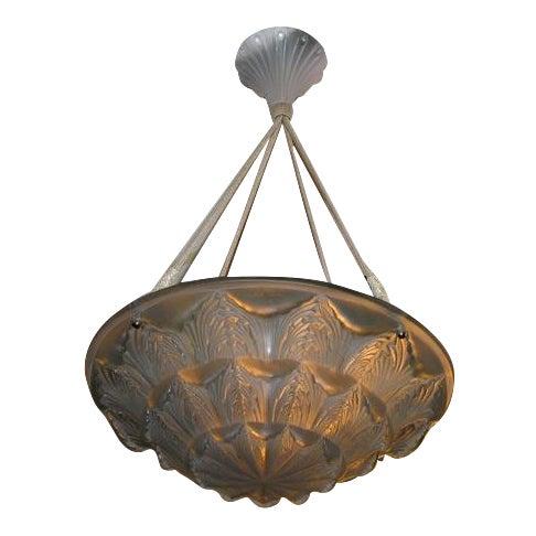 """René Lalique Deco Chandelier """"Gaillon"""" For Sale"""